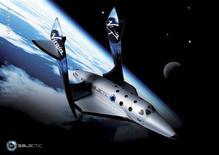 <p>Representación de un artista de la nave de Virgin Galactic SpaceShipTwo durante un vuelo sub-orbital. Virgin Atlantic reveló el lunes la primera nave espacial comercial para pasajeros, una elegante estructura blanco y negro que representa una apuesta con altísimos precios para crear una industria del turismo y comercio espacial. REUTERS/Courtesy Virgin Galactic/Handout</p>