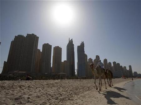 A camel walks on Jumeirah's popular tourist beach in front of tower blocks in Dubai in this November 28, 2009 file photo. Fears that Dubai's debt problems are not limited to troubled state conglomerate Dubai World battered investor confidence in the world's top oil-exporting region and sent Gulf shares tumbling on Wednesday. REUTERS/Steve Crisp
