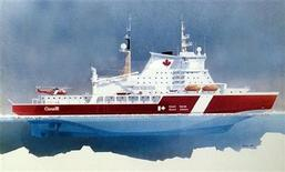 <p>An artist rendition of the new Polar class Arctic Icebreaker for the Canadian north to be named after former Prime Minister John G. Diefenbaker, that was announced by Canadian Prime Minister Stephen Harper in Inuvik, Northwest Territories, August 28, 2008. REUTERS/Department of Fisheries and Oceans/Handout</p>