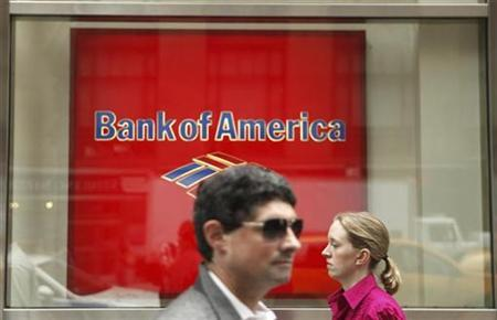 People walk past a Bank of America branch in New York in this August 13, 2009 file photo. REUTERS/Lucas Jackson