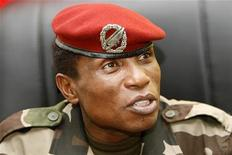 <p>Captain Moussa Dadis Camara speaks to journalists in his office at the military camp Alpha Yaya in Conakry, October 1, 2009. REUTERS/Luc Gnago</p>
