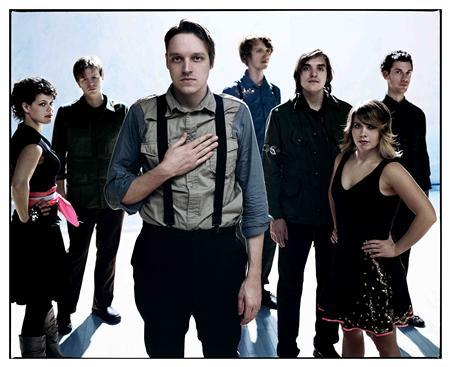 Arcade Fire is among the bands backed by Merge Records. Members of the band are pictured from left to right in this undated handout photo, Regine Chassagne, Tim Kingsbury, Win Butler, Richard Reed Parry, Will Butler, Sarah Neufeld, Jeremy Gara. REUTERS/Kevin Westenberg/Handout