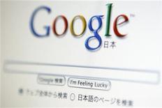 <p>Foto de archivo del buscador de internet Google en su versión para Japón, vista desde un ordenador en Tokio, ago 19 2009. Dos grupos pidieron el lunes a los reguladores antimonopolio de Estados Unidos que impidan que Google compre AdMob, un proveedor de servicios de publicidad para teléfonos móviles, para preservar la competencia y la privacidad de los usuarios. REUTERS/Stringer</p>