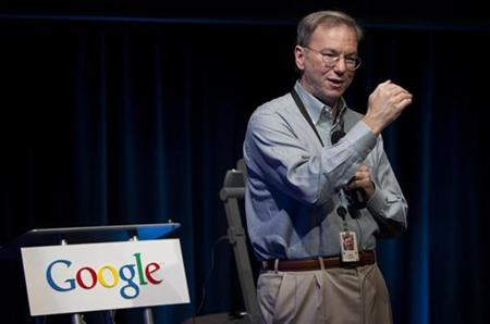 Eric Schmidt, chairman and CEO of Google, speaks at a news conference at Google's headquarters in Santa Clara, California in this October 27, 2009 file photo. REUTERS/Kimberly White