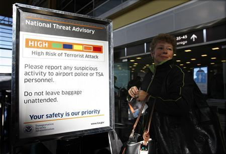 A sign informs passengers of a ''High Risk of Terrorist Attack'' at the departure security line at Reagan National Airport in Washington December 29, 2009. REUTERS/Kevin Lamarque