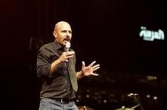 "<p>Comedian Maz Jobrani of ""The Axis of Evil"" comedy tour performs during their end of tour show as part of the Dubai International Film Festival December 14, 2007. REUTERS/Jumana El Heloueh</p>"