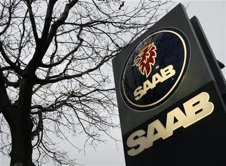 The Saab logo is seen on a dealer's sign in Schaumburg, Illinois, in this file image from November 24, 2009. REUTERS/John Gress/Files