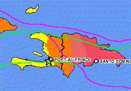 A major earthquake hit the impoverished country of Haiti on Tuesday, collapsing buildings in the capital Port-au-Prince and burying residents under rubble, a Reuters reporter in the city said. REUTERS/USGS.gov/Handout