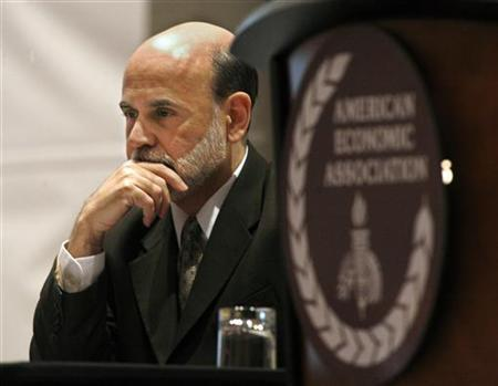 Federal Reserve Chairman Ben Bernanke waits to deliver a presentation at the American Economic Association Conference in Atlanta, Georgia, January 3, 2010. REUTERS/Tami Chappell