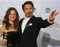 <p>Robert Downey jr con la moglie Susan alla cerimonia dei Golden Globe. REUTERS</p>
