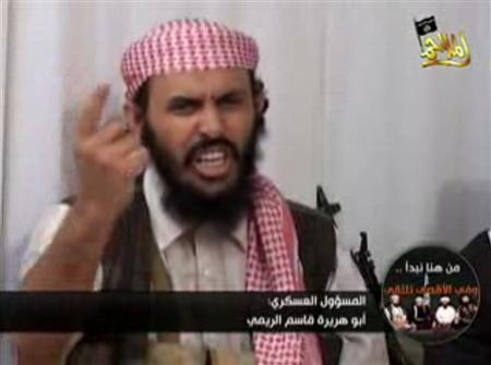 Al Qaeda military leader in Yemen Qassem al-Reni, a Yemeni national, speaks in a video posted on Islamist websites in this file picture taken January 24, 2009. REUTERS/Handout/Files