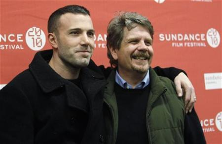 Cast member Ben Affleck (L) poses with director of the movie John Wells at the premiere of ''The Company Men'' during the 2010 Sundance Film Festival in Park City, Utah January 22, 2010. REUTERS/Mario Anzuoni