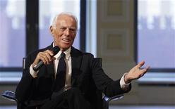 <p>Italian fashion designer Giorgio Armani speaks during his news conference in Moscow October 27, 2009. REUTERS/Denis Sinyakov</p>