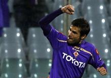 <p>4 novembre 2009. Adrian Mutu festeggia un gol in Champions League. REUTERS/Alessandro Bianchi</p>