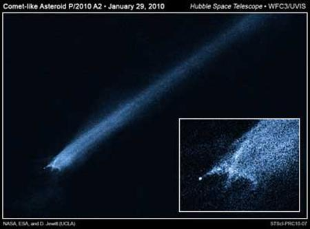 The object known as P/2010 A2 in an image taken last week by NASA's Hubble Space Telescope. REUTERS/Handout
