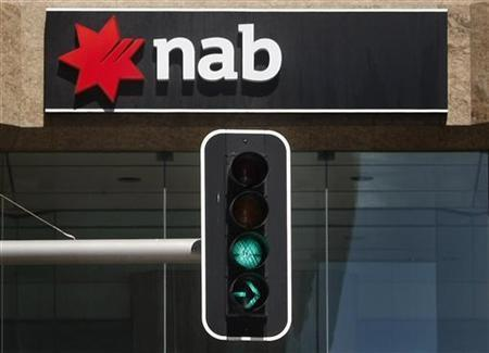 A traffic light shows green below a National Australia Bank sign in Sydney in this December 17, 2009 file photo. REUTERS/Tim Wimborne