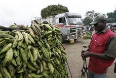 <p>A worker stands beside piles of bananas at Yopougon market in Abidjan July 30, 2008. REUTERS/Luc Gnago</p>