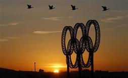 <p>Гуси пролетают мимо Олимпийских колец в Ванкувере, 20 февраля 2010 года. Ниже представлена таблица общего медального зачета среди сборных-участниц Олимпийских игр в Ванкувере. REUTERS/Chris Helgren</p>