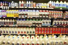 <p>Dairy products are displayed at a market in Santa Monica, California October 3, 2007. REUTERS/Lucy Nicholson</p>