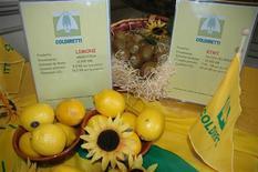 <p>Immagine di un banco Coldiretti con frutta proveniente dall'estero. HO</p>