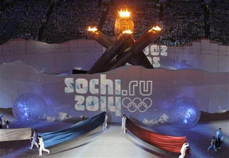 A tribute to Sochi, Russia, site of the 2014 Winter Olympics, is unveiled during the closing ceremony of the Vancouver 2010 Winter Olympics, February 28, 2010. REUTERS/Lucy Nicholson
