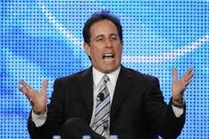 "<p>Executive producer Jerry Seinfeld answers questions during a panel for the NBC show ""The Marriage Ref"" at the NBC Universal sessions of the Television Critics Association winter press tour in Pasadena, California January 10, 2010. REUTERS/Phil McCarten</p>"