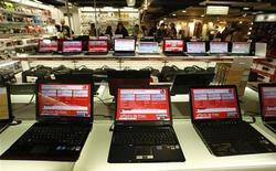 <p>Les ventes mondiales d'ordinateurs personnels devraient grimper de près de 20% en 2010, à 366,1 millions d'unités, notamment soutenues par le succès des portables, selon les nouvelles prévisions du cabinet d'études Gartner. /Photo d'archives/REUTERS/Eric Gaillard</p>