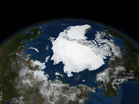 In this file photo NASA satellite image from September 21, 2005 and released on September 21, 2007 shows Arctic summer sea ice coverage in 2005. REUTERS/NASA/Handout