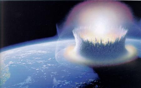An asteroid slamming into Earth at Chicxulub in what is now Mexico in an undated artist's rendering. A giant asteroid smashing into Earth is the only plausible explanation for the extinction of the dinosaurs, a global scientific team said on Thursday, hoping to settle a row that has divided experts for decades. REUTERS/NASA