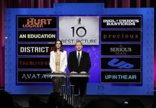 """<p>Actress Anne Hathaway (L) and Academy of Motion Picture Arts and Sciences President Tom Sherak announce the nominations in the Best Motion Picture of the Year category during the 82nd annual Academy Awards nominee announcements in Beverly Hills February 2, 2010. Nominees clockwise from bottom left are Avatar, The Blind Side, District 9, An Education, The Hurt Locker, Inglourious Basterds, Precious: Based on the Novel """"Push"""" by Sapphire, A Serious Man, Up and Up in the Air. The 82nd annual Academy Awards will be presented in Hollywood on March 7, 2010. REUTERS/Danny Moloshok</p>"""