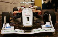 <p>A formula 3 race car that researchers from the University of Warwick in Britain have retrofitted is seen at the MIT Energy Conference 2010 in Boston, Massachusetts March 5, 2010. REUTERS/Adam Hunger</p>