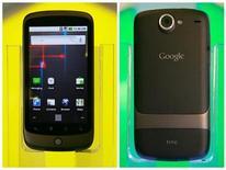 <p>Foto de archivo del teléfono inteligente de Google, Nexus One, durante su presentación en la sede de la compañía en Mountain View, EEUU, ene 5 2010. Las primeras cifras de venta del teléfono Nexus One, han quedado muy por detrás de las del iPhone de Apple y el Droid de Motorola cuando salieron al mercado, dijo el martes una empresa de análisis del sector. REUTERS/Robert Galbraith</p>