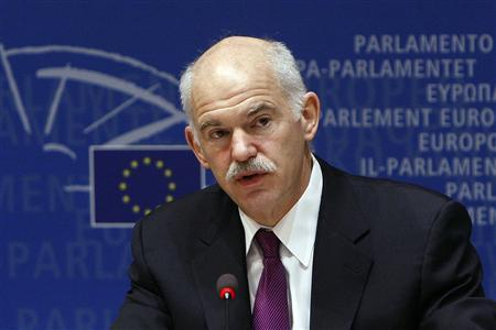 Greek Prime Minister George Papandreou addresses the Special Committee on the Financial, Economic and Social Crisis at the European Parliament in Brussels March 18, 2010. REUTERS/Thierry Roge