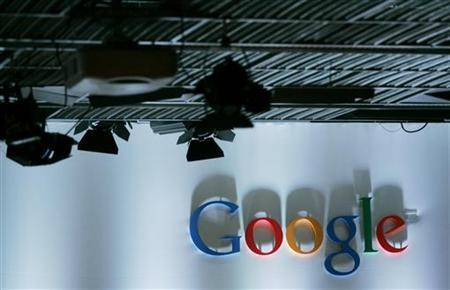 The Google logo is shown prior to the unveiling of the Nexus One Android smartphone, the first mobile phone the internet company will sell directly to consumers, during a news conference at Google headquarters in Mountain View, California January 5, 2010. REUTERS/Robert Galbraith