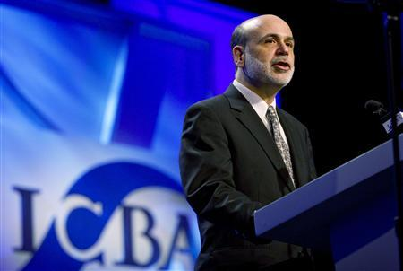 U.S. Federal Reserve Chairman Ben Bernanke delivers his speech during the Independent Community Bankers of America convention in Orlando, Florida March 20, 2010. REUTERS/Scott Audette