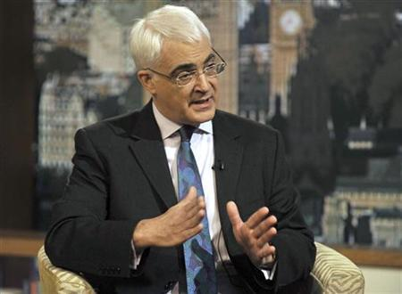 Britain's Chancellor of the Exchequer Alistair Darling speaks during an interview on BBC television, in London, March 21, 2010. REUTERS/Jeff Overs/BBC/Handout