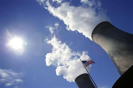 A U.S. flag flutters in front of cooling towers at the Limerick Generating Station nuclear facility in Pottstown, Pennsylvania May 24, 2006. REUTERS/Kevin Lamarque