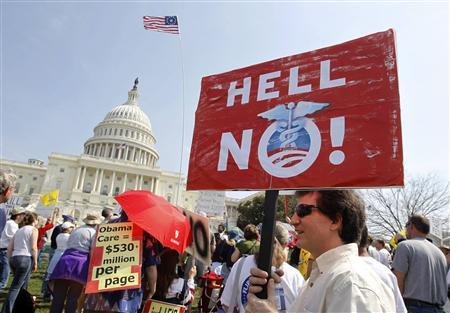Opponents of the proposed U.S. health care bill are pictured during a rally outside the U.S. Capitol Building in Washington, March 21, 2010. REUTERS/Jason Reed