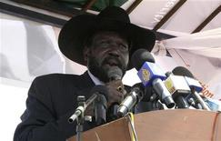 <p>Sudan's Vice President Salva Kiir addresses supporters during the launch of his campaign for the forthcoming elections in south Sudan's capital Juba February 24, 2010. REUTERS/Skye Wheeler</p>