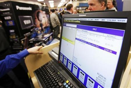 A price register display shows the price for the Panasonic Full HD 3D home entertainment system at the Best Buy electronics store in New York in this March 10, 2010 file photo. REUTERS/Shannon Stapleton
