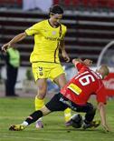 <p>Zlatan Ibrahimovic, do Barcelona, marcou em sua terceira partida consecutiva, em partida contra Real Mallorca neste sábado. 27/03/2010 REUTERS/Enrique Calvo</p>