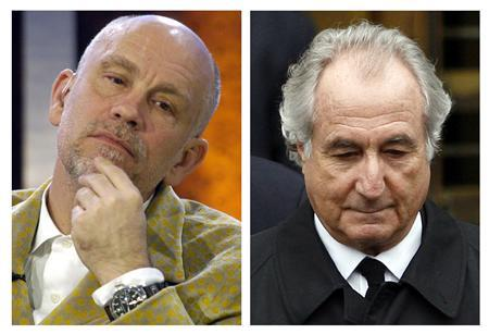 Actor John Malkovich (L) and Bernard Madoff are shown in this April 1, 2010 combination file photograph. REUTERS/Files