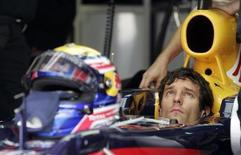 <p>Il pilota della Red Bull Mark Webber durante le prove. REUTERS/Bazuki Muhammad</p>