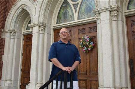 Massage therapist and small business owner Dan Snyder is seen in this undated handout photo taken outside the Sacred Heart Church in Emporia, Kansas. REUTERS/handout/Danny C. Boyce