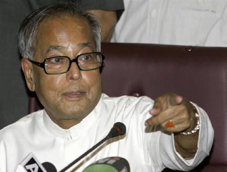 Finance Minister Pranab Mukherjee gestures during a news conference in New Delhi in this May 2009 file photo. REUTERS/B Mathur