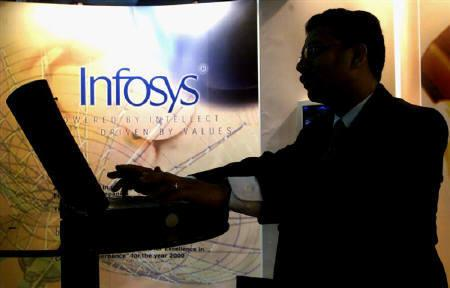 A visitor to largest Information Technology exhibition works on a laptop at a stall advertising the country's leading software company, 'Infosys' in Mumbai, February 7, 2001.REUTERS/Savita Kirloskar/Files