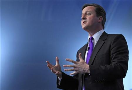Conservative Party leader, David Cameron, speaks on stage at the launch of the Conservative Party manifesto in London April 13, 2010. REUTERS/Andrew Winning