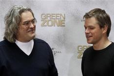 """<p>Ator Matt Damon e o diretor Paul Greengrass durante evento promocional do filme """"Zona Verde"""" em Berlim. O filme sobre a guerra do Iraque estreia neste final de semana em circuito nacional. 03/03/2010 REUTERS/Tobias Schwarz</p>"""