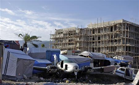 A view is seen of a provisional camp made by earthquake victims in Port-au-Prince, April 15, 2010. REUTERS/Eduardo Munoz