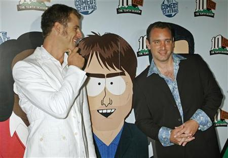Matt Stone (L) and Trey Parker, creators of the television animated series ''South Park'', arrive for the South Park The Tenth Season party in Los Angeles September 21, 2006. REUTERS/Fred Prouser